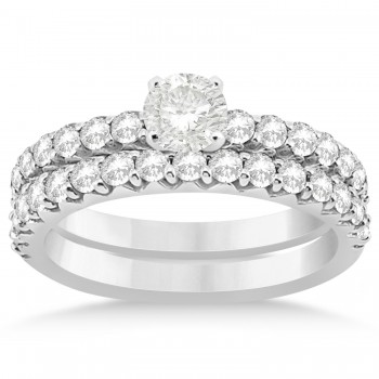 Diamond Accented Bridal Set 14k White Gold 0.90ct