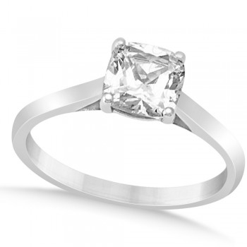 Diamond Solitaire Cushion Cut Bridal Set 14k White Gold (1.00ct)