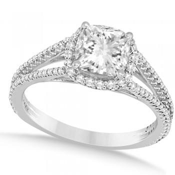 Diamond Split Shank Cushion Cut Bridal Set 14k White Gold (1.63ct)