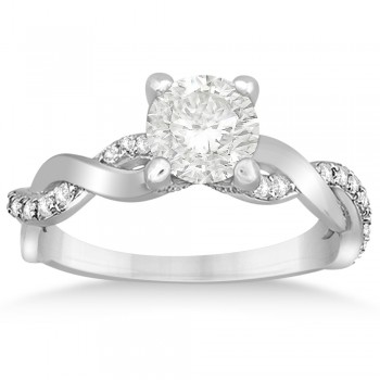 Diamond Twisted Infinity Engagement Ring 14k White Gold (0.32ct)