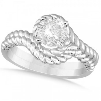 Diamond Twisted Solitaire Bridal Set 14k White Gold (1.00ct)