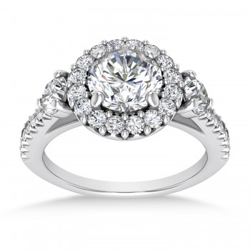 Diamond Fancy Halo Engagement Ring 14k White Gold (0.68ct)