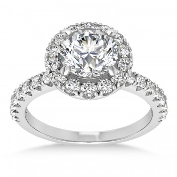 Diamond Sidestone Halo Engagement Ring 14k White Gold (0.61ct)