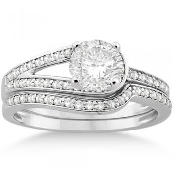 Love Knot Diamond Engagement Ring Set Platinum (0.32ct)