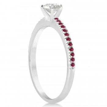 Ruby Accented Engagement Ring 14k White Gold 0.18ct