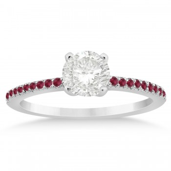 Ruby Accented Bridal Set 14k White Gold 0.39ct