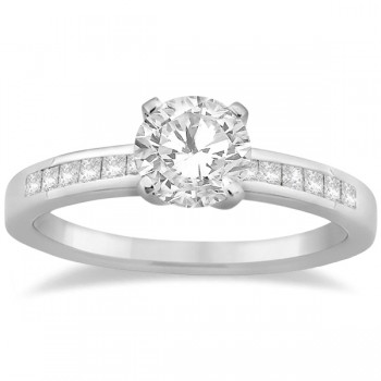 Channel Princess Cut Diamond Bridal Ring Set Palladium (0.35ct)