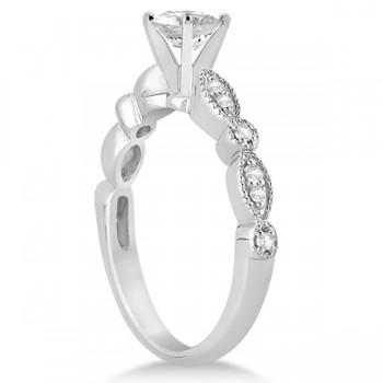 Petite Marquise & Dot Diamond Engagement Ring Palladium (0.12ct)