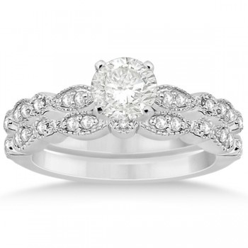 Petite Marquise & Dot Diamond Bridal Ring Set in Platinum (0.25ct)