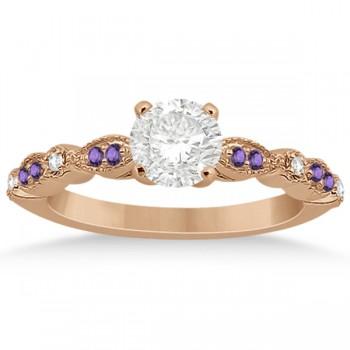 Marquise & Dot Diamond Amethyst Engagement Ring 14k Rose Gold 0.24ct