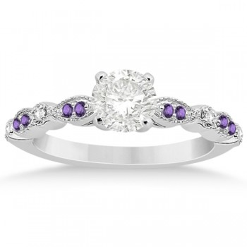 Marquise & Dot Diamond Amethyst Engagement Ring 14k White Gold 0.24ct