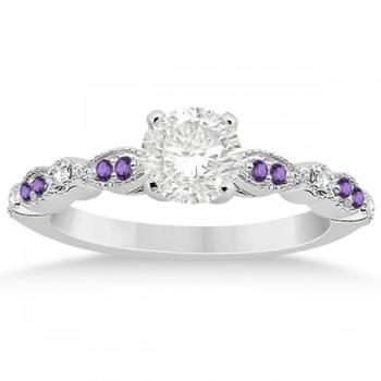 Marquise & Dot Diamond Amethyst Engagement Ring 18k White Gold 0.24ct