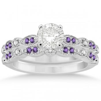 Marquise and Dot Amethyst & Diamond Bridal Set 14k White Gold 0.49ct