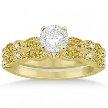 Yellow Sapphire & Diamond Marquise Bridal Set 14k Yellow Gold (0.49ct)