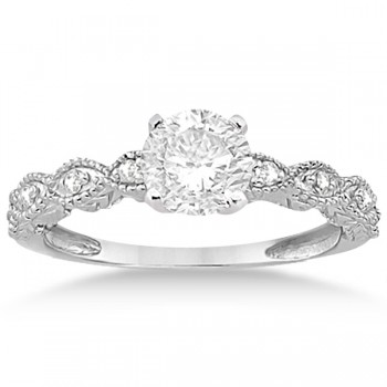 Petite Antique-Design Diamond Bridal Set in 14k White Gold (0.58ct)