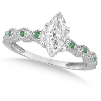 Marquise Antique Diamond & Emerald Bridal Set 14k White Gold (1.58ct)