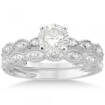 Antique Pave Diamond Engagement Ring Set Palladium (0.20ct)