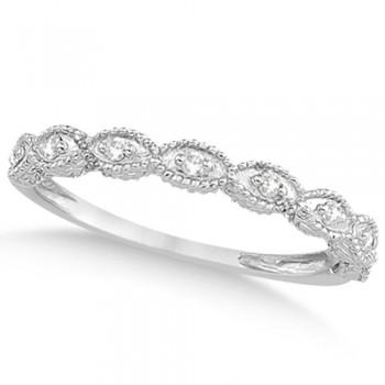 Antique Marquise Shape Diamond Wedding Ring 14k White Gold (0.10ct)