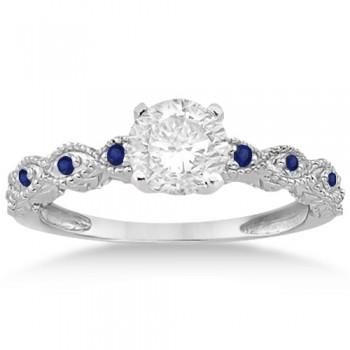 Antique Blue Sapphire Engagement Ring Set 14k White Gold (0.36ct)