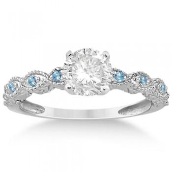 Vintage Marquise Blue Topaz Engagement Ring Palladium (0.18ct)