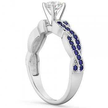 Infinity Twisted Blue Sapphire Engagement Ring 14k White Gold (0.25ct)