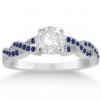 Infinity Twisted Blue Sapphire Engagement Ring in Platinum (0.25ct)