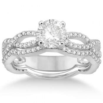 Infinity Diamond Engagement Ring with Band 14k White Gold (0.65ct)