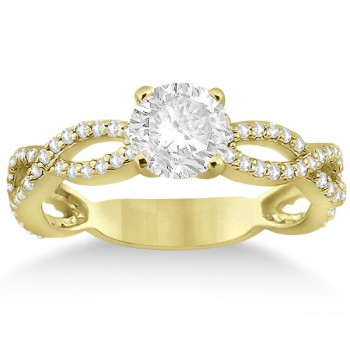 Infinity Diamond Engagement Ring with Band 14k Yellow Gold (0.65ct)