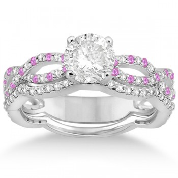 Infinity Diamond & Pink Sapphire Engagement Ring with Band 14k White Gold (0.65ct)