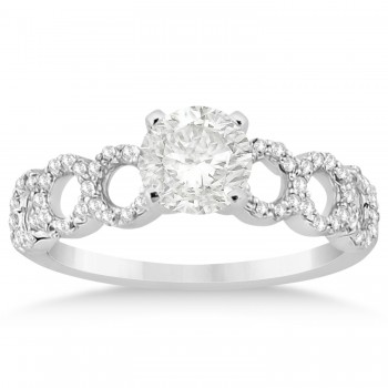 Diamond Twisted Engagement Ring Setting 14k White Gold 0.28ct