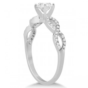 Twisted Infinity Heart Diamond Engagement Ring 14k White Gold (0.50ct)