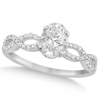 Twisted Infinity Oval Diamond Engagement Ring 14k White Gold (0.50ct)