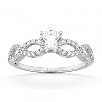 Twisted Infinity Diamond Engagement Ring Setting 14K White Gold (0.21ct)