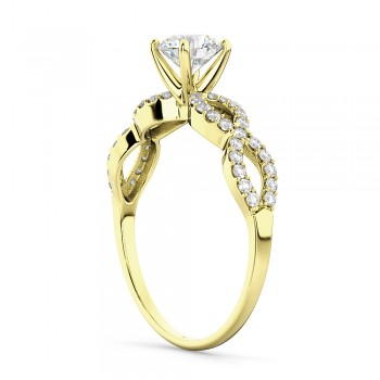 Twisted Infinity Diamond Engagement Ring Setting 18K Yellow Gold (0.21ct)