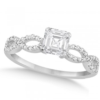 Infinity Asscher-cut Diamond Engagement Ring 14k White Gold (0.50ct)