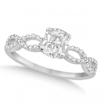 Infinity Cushion-Cut Diamond Engagement Ring 14k White Gold (0.50ct)
