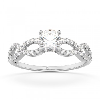 Twisted Infinity Diamond Engagement Ring Setting Palladium (0.21ct)