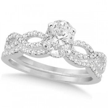 Twisted Infinity Oval Diamond Bridal Set 14k White Gold (0.63ct)