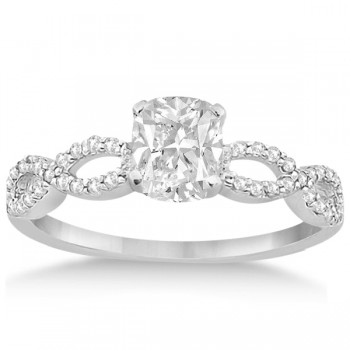 Infinity Cushion-Cut Diamond Bridal Ring Set 14k White Gold (0.63ct)