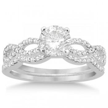 Infinity Twisted Diamond Ring Matching Bridal Set in platinum (0.34ct)