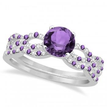 Infinity Style Amethyst & Diamond Bridal Set 18k White Gold 1.29ct