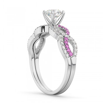 Infinity Diamond & Pink Sapphire Ring Bridal Set in Palladium 0.34ct