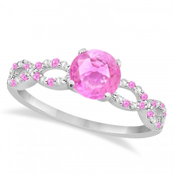 Infinity Diamond & Pink Sapphire Engagement Ring 14K White Gold 1.05ct