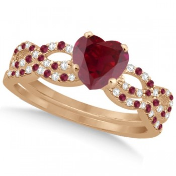 Ruby & Diamond Heart Infinity Heart Bridal Set 14k Rose Gold 1.75ct
