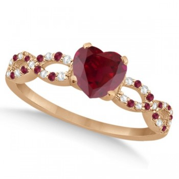 Ruby & Diamond Heart Infinity Heart Bridal Set 14k Rose Gold 1.75ct