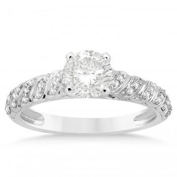 Diamond Swirl Engagement Ring Setting 14k White Gold (0.17ct)