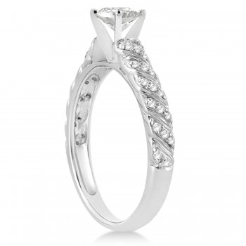 Diamond Swirl Engagement Ring Setting 14k White Gold 0.17ct