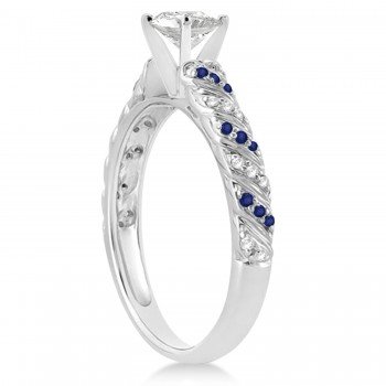 Blue Sapphire & Diamond Swirl Engagement Ring Setting 14k White Gold 0.17ct