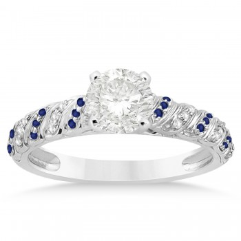 Blue Sapphire & Diamond Swirl Bridal Set 14k White Gold 0.41ct