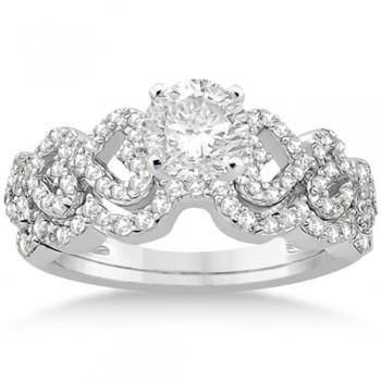 Heart Shape Diamond Engagement & Wedding Ring 14k White Gold (0.50ct)